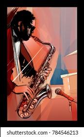 saxophone player on grunge background - vector illustration