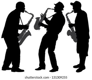 Saxophone Player Silhouette on white background