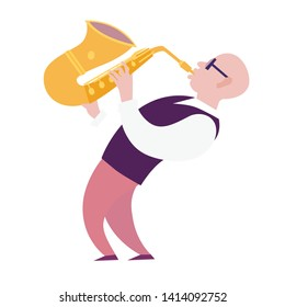 Saxophone player vector colorful illustration. Saxophone player characters cartoon flat style. Isolated on white background