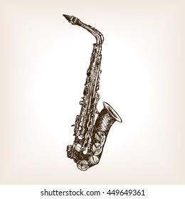 Saxophone sketch style vector illustration. Old engraving imitation.