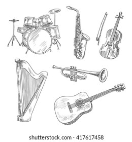 Saxophone, violin, drum set, acoustic guitar, trumpet and harp isolated sketches. Vintage engraving musical instruments for arts, music and entertainment design