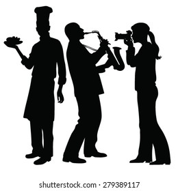 saxophonist playing,girl taking pictures, silhouette chef