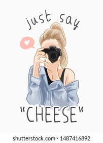 say cheese slogan with cartoon girl taking picture illustration