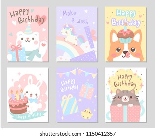 Say Happy Birthday with cute animal friends in soft pastel color. Set of rectangle gift tag, card, postcard. Lovely funny cute. Vector illustration.
