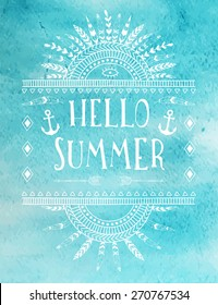 Say Hello to Summer, creative graphic message for your summer design.