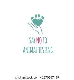 Say NO to animal testing, cruelty free Vectoe conceptual illustration. Symbol, logo  in cartoon, sketch style
