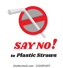 Say no disposable plastic drinking straws in favor of reusable metallic drinking straw. Say no to plastic straws. Red text, calligraphy.