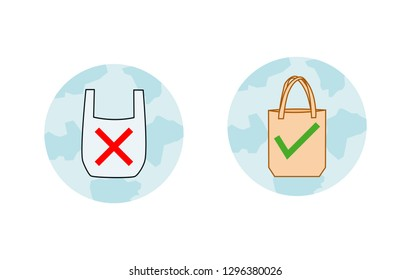 Say no to plastic bags bring your own textile bag sign. Pollution problem concept. symbol isolated on white background vector illustration.