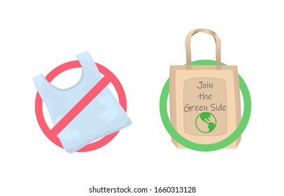 Say no to plastic bags. Cloth eco bag in a green frame and plastic bag in a red frame isolated on white. Join the green side.
