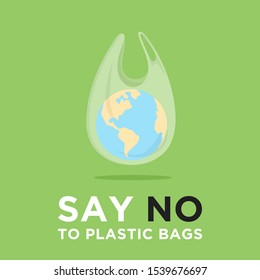 Say no to plastic bags. Ecology conversation. Zero waste. White polythene bag with planet inside. Create less waste. Pollution problem. Campaign to reduce plastic usage. Flat vector banner