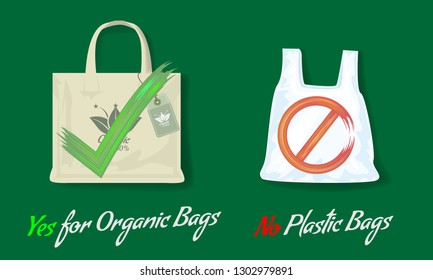 Say no to plastic bags and yes for organic bags. Flat style Vector illustration with acrylic yes or no signs.