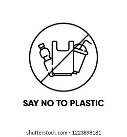 Say no to plastic. Eco problem banner with restrictive sign. Vector illustration. Plastic pollution problem.