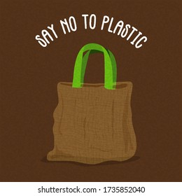 Say no to plastic illustration for paper bag use in business shopping. Green environment campaign label or eco friendly design.