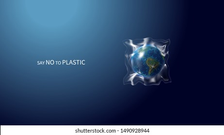 Say no to plastic low poly banner template. 3d polygonal earth globe. Planet covered with plastic concept art with connected dots and lines. Global problem vector color wireframe mesh illustration