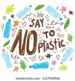 Say no to plastic, motivation ecological lettering poster. Zero waste concept with plastic bottles and trash
