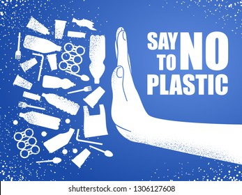 Say no to plastic. Problem plastic pollution. Ecological poster. Banner composed of white plastic waste bag, bottle and hand on blue background.