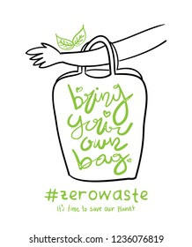 Say no to plastic shopping bags bring your own reusable bag concept design / Zero waste lifestyle