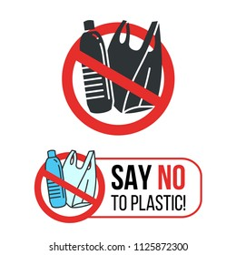 Say no to Plastic sign with Plastic water bottle and plastic bag in red stop circle vector design
