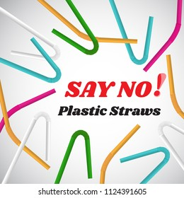 Say no to plastic straws. Red text, calligraphy, lettering, doodle by hand isolated on white. Eco, ecology. Stop using plastic straws concept. Save the earth and good environment concept.