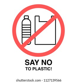 Say no to Plastic! Text, Abstract Bottle and Plastic Bag, Vector Illustration, Flat Design