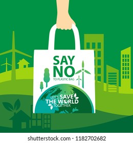 say no to plastic, use cloth bags, World environment day concept. Green Eco Earth. Vector illustration.