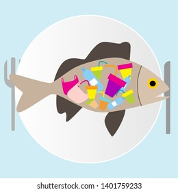 Say no to plastic. We eat it. The fish eats plastic and it enters our body. The problem of ecology, disaster, microplastic in our body, save the ocean, save fish and whales.Waste-free production, zero