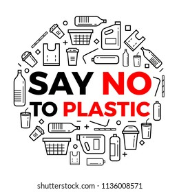Say no to plastice text and plastice package line icons sign around circle vector design