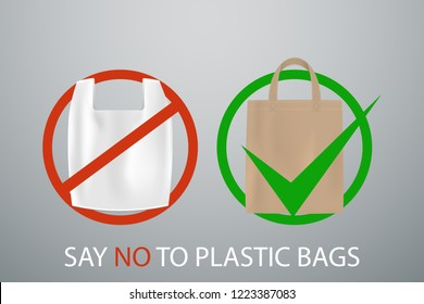 Say no to plastick bags poster, vector illustration