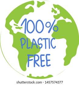 Say no to plastic.Zero waste, plastic free, vegan, natural, organic products sticker. Eco friendly concept design element.Vector illustration