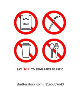 Say no to single use plastic set, bag, straw, cup, spoon and fork. Simple design. Stop using Plastic campaign.