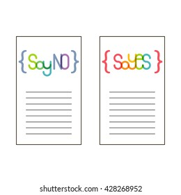 Say yes and say no. Card design template.
