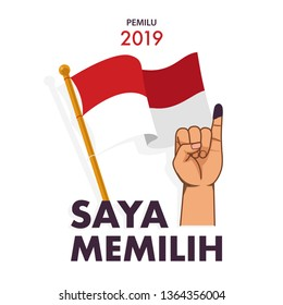 "Saya Memilih is ""I voted"" design concept in Indonesian language. the Indonesian presidential election called PEMILU."