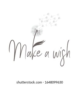 sayings: make a wish with illustration of dandelion flower, vector