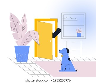 Says goodbye to your dog as walk out the door. Illustration concept of leaving your dog for the day home.
