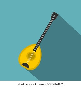 Saz baglama turkish music instrument icon. Flat illustration of saz baglama turkish music instrument vector icon for web isolated on baby blue background
