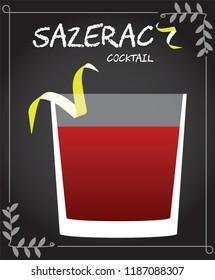 Sazerac Cocktail Illustration in vector with lemon twist.