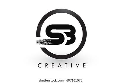SB Brush Letter Logo Design with Black Circle. Creative Brushed Letters Icon Logo.