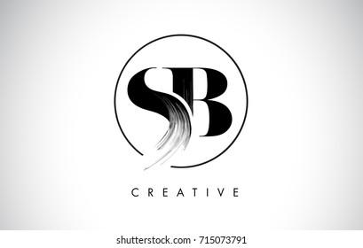 SB Brush Stroke Letter Logo Design. Black Paint Logo Leters Icon with Elegant Circle Vector Design.