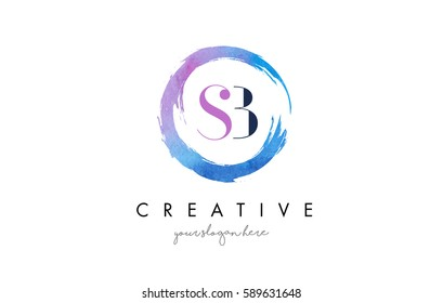 SB Circular Letter Brush Logo. Pink Brush with Splash Concept Design.