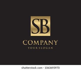 SB initial letters looping linked box elegant logo golden black background