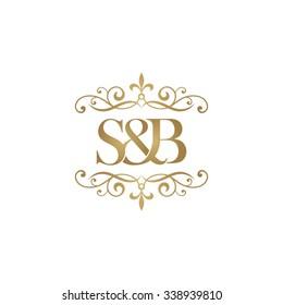 S&B Initial logo. Ornament ampersand monogram golden logo