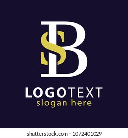 SB Initial Logo Vector, with gold and silver color