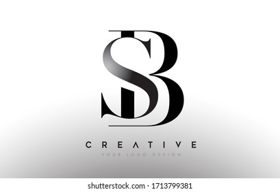 SB sb letter design logo logotype icon concept with serif font and classic elegant style look vector illustration.