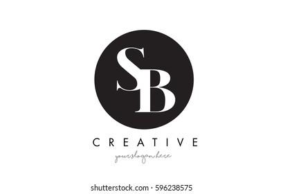 SB Letter Logo Design with Black Circle and Serif Font Vector Illustration.