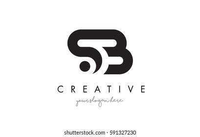 SB Letter Logo Design with Creative Modern Trendy Typography and Black Colors.
