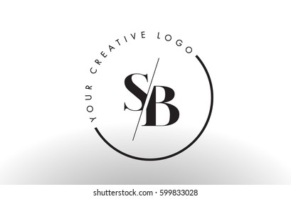 SB Letter Logo Design with Creative Intersected and Cutted Serif Font.