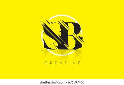 SB Letter Logo with Vintage Grunge Cut Design. Destroyed Drawing Elegant Letter Icon Vector.