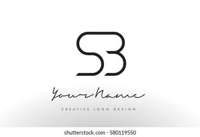 SB Letters Logo Design Slim. Simple and Creative Black Letter Concept Illustration.
