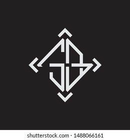 SB Logo Abstrac letter Monogram with Arrow in every side isolated on black background