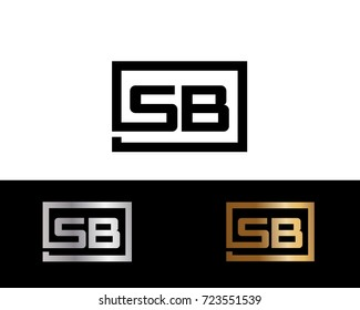 SB Logo. Letter Design Vector with Red and Black Gold Silver Colors
